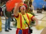 "This clown is juggling scarves. Guess what? This passes as ""exercise"" in gym class these days!"