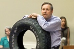 Upton's so environmentally friendly that he just rolls to work in a tire.